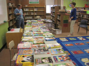 Tables of books for kids to choose from